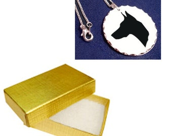 Dog Silhouette Necklace Silver Pendant - 186 Breeds - Includes Gold Linen Gift Box!