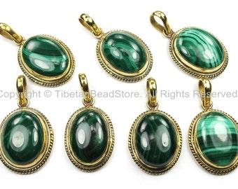 Nepal Tibetan Malachite & Brass Pendant- Nepal Pendant Tibet Pendant Natural Malachite Pendant Handmade Tibetan Pendants, Jewelry - WM5830-1