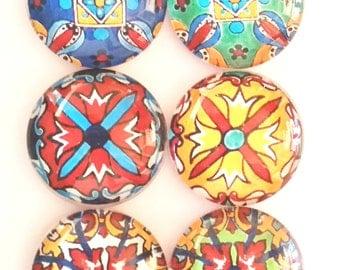 Talavera Magnets, Mandala Magnets, Refrigerator Magnets, Fridge Magnets, Decorative Blue Yellow Red Green Talavera Magnets, Set of 6
