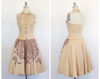 50s Brown Western Two Piece Dress Set - 1950s Vintage Cow Girl Linen Rockabilly Skirt and Blouse - Small - Size 4