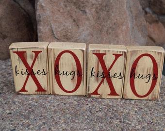 Vintage Valentine Blocks Kisses Hugs Love Sign