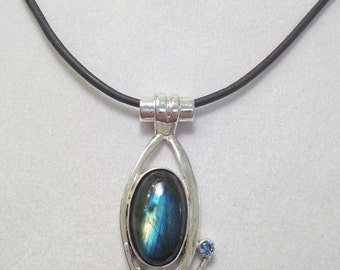 Sterling Silver Labradorite Necklace with London Blue Topaz- Holiday Gift