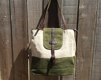 Green Canvas Purse, Shoulder Bag, Tote