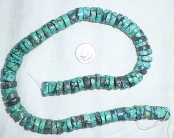 "16"" Genuine Turquoise Rondelle Disc Beads Full Strand 11 mm Heishi for Necklace or Bracelet Big Bead String 11mm Blue"