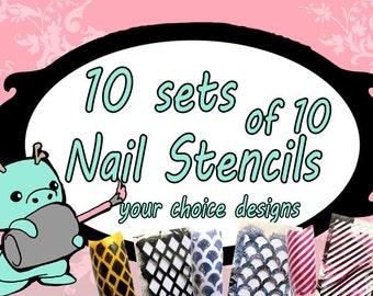 10 sets of 10 nail stencils. 100pc You choose the designs. DIY nails, nail stamping