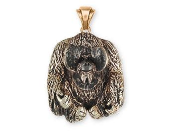 Orangutan Monkey Pendant Solid Yellow Bronze Jewelry OG1-PBZ