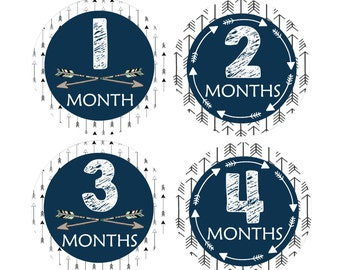 Baby Month Stickers, Tribal Arrow Baby Age Stickers, Set of 12 Monthly Growth Stickers