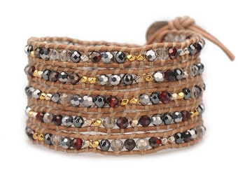 THE SAHARA / Wrap Bracelet, Leather Beaded Wrap Bracelet, Women's Leather Bracelets, Brown Wrap Bracelet, Beaded Crystal Bracelet