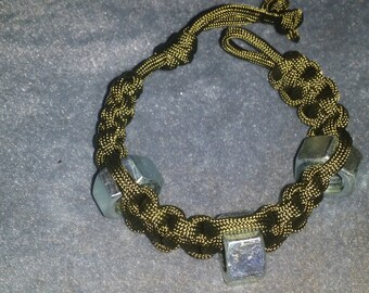 Army Green Paracord Bracelet with Hex Nuts.