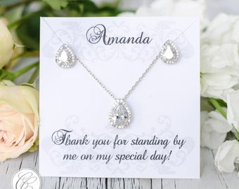 Earring Pendant Bridesmaid Set |  Bridesmaid Gifts  | Bridesmaid Earrings | Personalized Bridesmaids