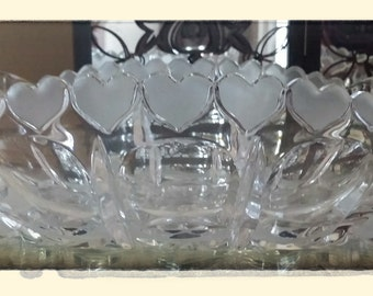 Cut Crystal Bowl....Estate Sale Find...Hearts....Oval Crystal Bowl...Bridal Gift