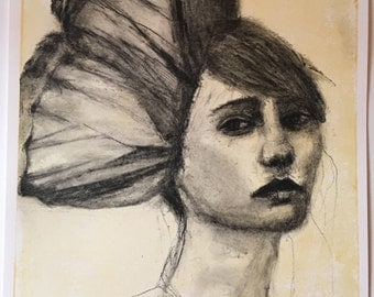 Wings ~ charcoal and oil bar