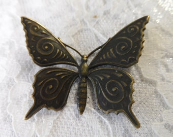 "Vintage gold plate brass etched butterfly,1&3/8th"",1pc-KC194"