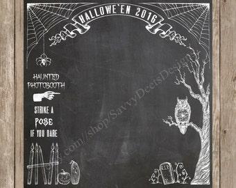 Halloween Photo Backdrop - Chalkboard Halloween Photo Backdrop -  Fall Photo Backdrop - Vintage Halloween Photo Backdrop Printable