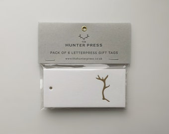 Gift Tag Pack of 6 - Gold Deer