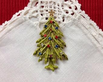Signed ART Christmas Tree Pin Brooch