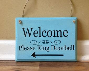 Welcome Sign Please Ring Doorbell arrow front door wooden sign Door decor hanging sign door knob hanger aqua blue black hand painted sign