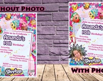 Shopkins Birthday Party Invitation - 2 Options with Photo!!