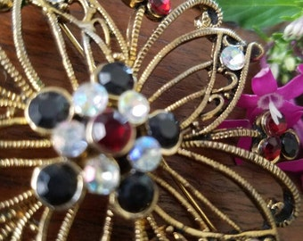Vintage Black, Crystal and red