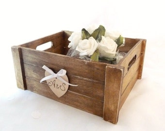Rustic Wooden Crate Box, Wedding Box with engraved Heart, Rustic Box for Favors Programs Cards Advice , Rustic Home Organization.
