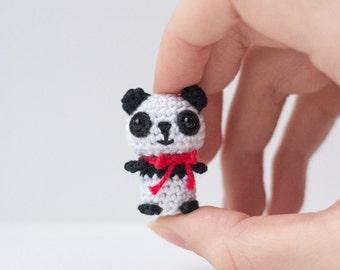 Tiny Panda Bear Amigurumi Plush / Miniature Crochet Toy