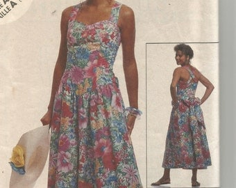 UNCUT 5417 McCalls Sewing Pattern SUNDRESS Lined Fitted Bodice Dress Size 6 8 10 Factory Folded