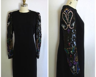 SALE 20% OFF- Sequined Evening Gown/ 80s Black Party Dress/ NYE Sparkle Dress/ Women's Size Small to Medium