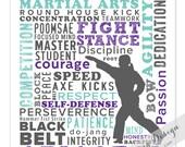 Taekwondo Print / Personalized / Custom Name Print / Martial Arts / Milestone Celebration / 8x10 / Custom