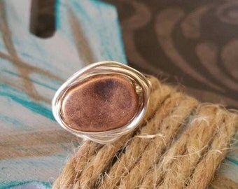 BERNICE - Copper Wire Wrap Ring, Statement Jewelry, Rings, Copper Bead Ring, Silver Wire Rings, Gift for Mom, Copper Bead Wire Wrapped