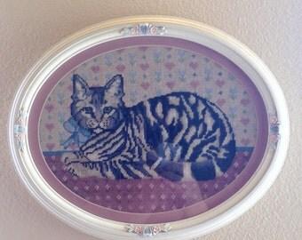 Vintage Oval Kitty Framed Art/Wooden Frame