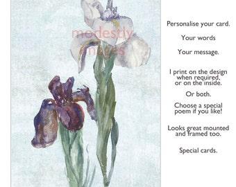 Iris Card, Greeting Card Sister, Birthday Card, Handmade Card , personalised card, anniversary card , Blank card ,Irises