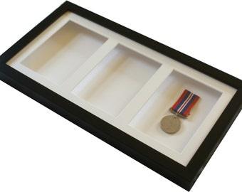 Triple 6x4 inch black display frame.  Deep shadow box display frame for medals, ceramics, decoupage etc