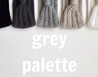 Crocheted Turband ( Grey Palette)