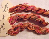 318 Clark Quay Hand Dyed Stranded Cotton, 8 metre skein, Made in France, Fils a Soso.  Blend of autumn colours in hand dyed yarn.