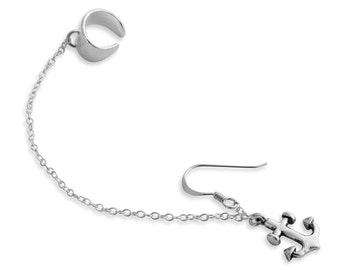 Drop Dangle Anchor Nautical Symbol of Stability and Security Marine Ear Cuff Wrap Hook Earring #925 Sterling Silver #Azaggi E0118S