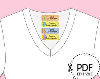 Dinosaurs Iron-On Name Labels - Printable PDF Download