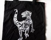 Velociraptor Screen Printed Tote Bag