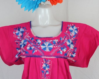 MEDIUM- Frida Style Mexican Hand Embroidered Peasant Blouse 100% Cotton -Pink- Puebla-BOHO-Hippie-Summer