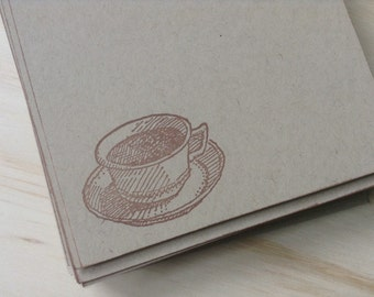 vintage inspired flat note cards and envelopes, stationery set, vintage coffee cup and saucer,  set of 10