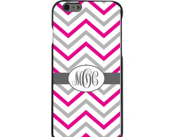 Hard Snap-On Case for Apple 5 5S SE 6 6S 7 Plus - CUSTOM Monogram - Any Colors - Hot Pink White Grey Chevron Stripes