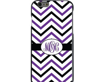 Hard Snap-On Case for Apple 5 5S SE 6 6S 7 Plus - CUSTOM Monogram - Any Colors - Black Purple White Chevron Stripes