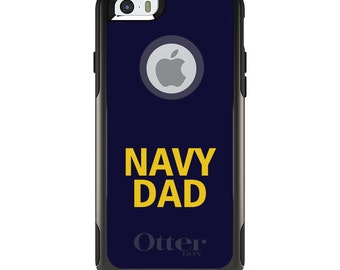OtterBox Commuter for Apple iPhone 5S SE 5C 6 6S 7 8 PLUS X 10 - Custom Monogram - Any Colors - Yellow Navy Dad