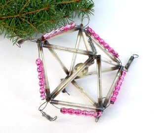 Antique Bugle beads Christmas Ornament Pink Glass ornament constuction Combined ornament Rare Soviet vintage UFO Christmas decoration Space