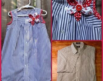 Navy/White Stripe Upcycle Dress