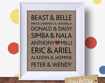 Printable Disney Famous Couples, Gift for Couples, Wedding Gift, Wedding Print, Engagement Print, Valentine's Day Gift, Famous lovers print