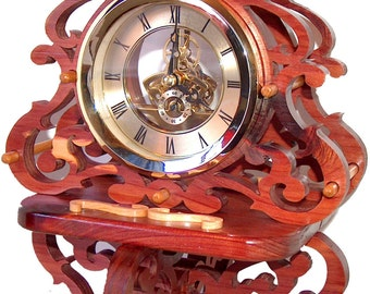 Fretwork Skeleton Clock, Rustic Wood Clock, Scroll Saw, Unique Clock, Victorian Decor, Victorian Art, Desk Clock, Swirls, Decorative Clock