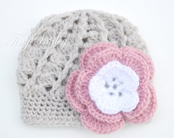 Baby Girl Hat, Flower Baby Hat, Beige Baby Girl Hat, Newborn Girl Hat, Baby Girl Outfits, Crochet Girl Hat, Hospital Girl Hat, Baby Girl Hat