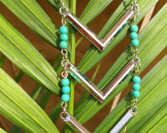 Silver Triple Chevron Necklace, Silver Chevron and Turquoise Beaded Necklace