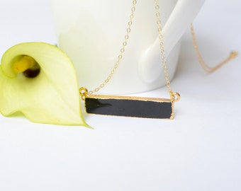 Black Bar Necklace, Agate Bar Necklace, Dainty Bar Necklace, Minimalist Jewelry, Simple Gold and Black Layering Necklace, Gift for Her