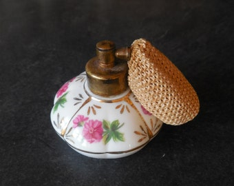 Pretty Hand Painted Perfume Bottle with Atomizer...Porcelain Japan